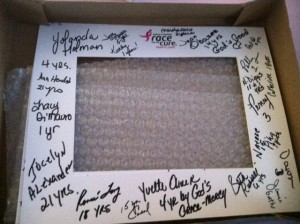 Photo frame signed by survivors