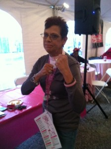 """Our Survivors Tent leader, and breast cancer survivor, LeAnne! This was during """"Fight Song"""", our theme song"""